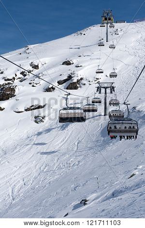 Chair-lift bringing us to the top of the mountain in the Zillertal Arena, Austria