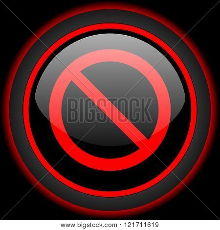 access denied black and red glossy internet icon on black background