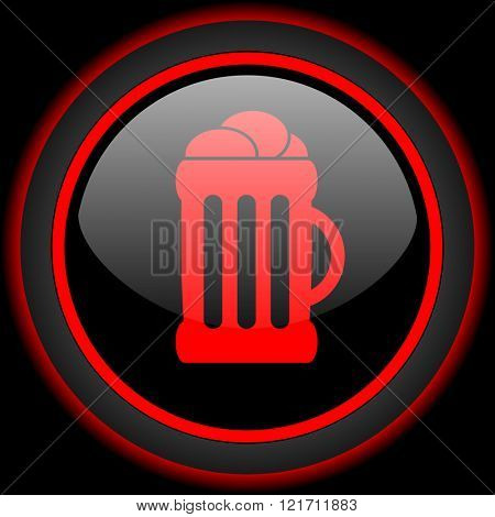 beer black and red glossy internet icon on black background