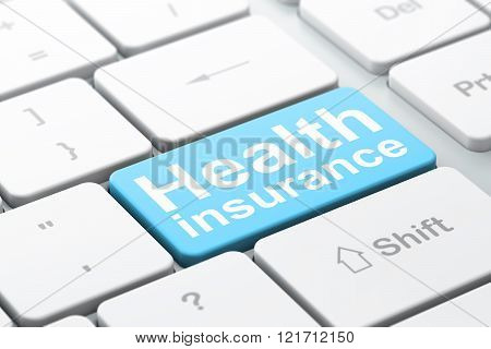 Insurance concept: Health Insurance on computer keyboard background
