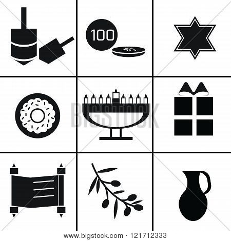 Set of black and white hanukkah elements