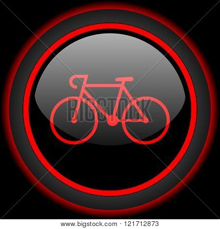 bicycle black and red glossy internet icon on black background