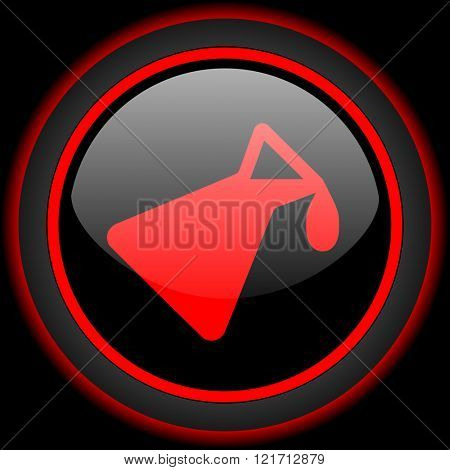 chemistry black and red glossy internet icon on black background