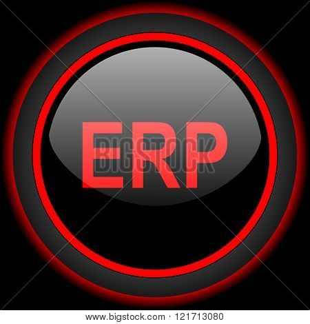 erp black and red glossy internet icon on black background