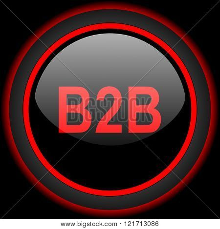 b2b black and red glossy internet icon on black background