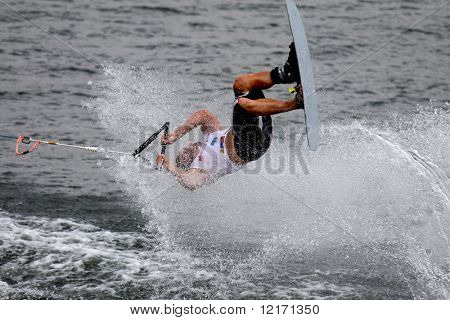 Putrajaya, MALAYSIA - 9 November. Waterskier Nicholas Le Forestier in action in the shortboard/tricks event at the Waterski World Cup Competition.  9 November 2008 at the Putrajaya Lake in Malaysia.