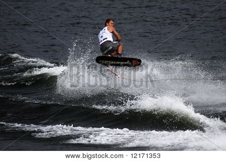 Putrajaya, MALAYSIA - 9 November.  Waterskier Oleg Deviatovski in action in the shortboard/tricks event at the Waterski World Cup Competition.  9 November 2008 at the Putrajaya Lake in Malaysia.