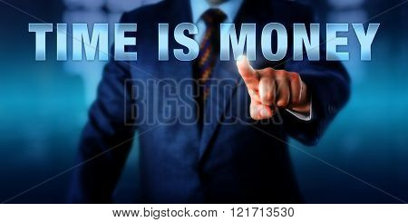 Businessman Touching Time Is Money