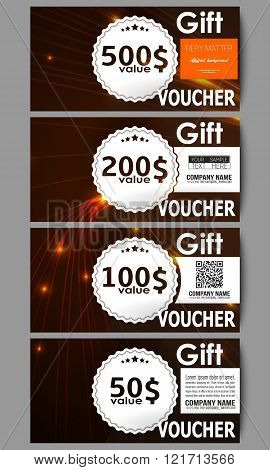 Set of modern gift voucher templates. Abstract lines background, dynamic glowing decoration, motion