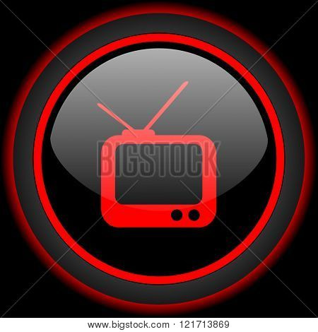 tv black and red glossy internet icon on black background