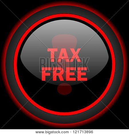tax free black and red glossy internet icon on black background