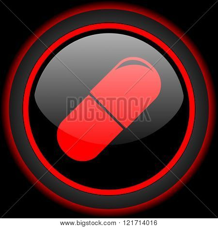 drugs black and red glossy internet icon on black background