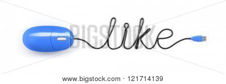 A blue computer mouse and the word like formed by the cable