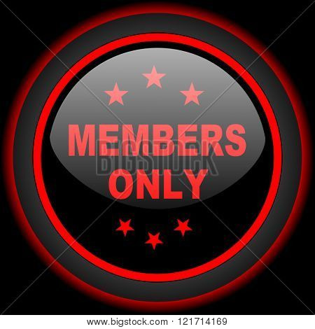 members only black and red glossy internet icon on black background
