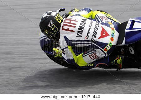 Sepang, MALAYSIA - 7 February: MotoGP rider Valentino Rossi in action at the MotoGP winter testing sesssions held in Malaysia. 7 February 2009 in Sepang International Circuit Malaysia.