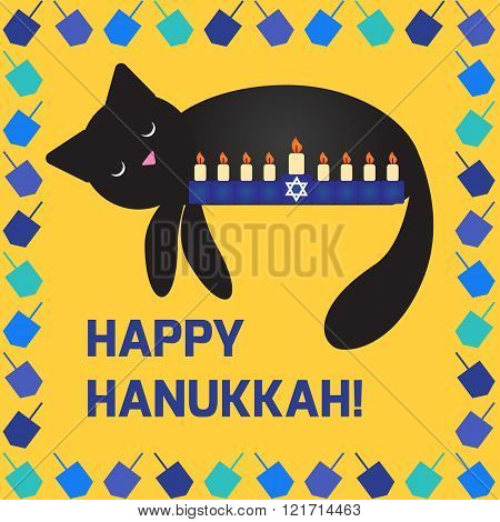 Cute hanukkah card with a cat sleeping near the menorah