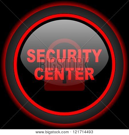 security center black and red glossy internet icon on black background