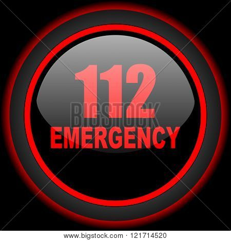 number emergency 112 black and red glossy internet icon on black background