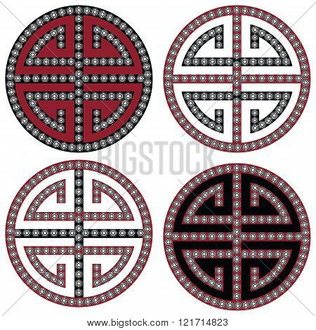 Traditional Oriental Korean symmetrical zen symbols in black, white and red with diamonds element fashion and tattoo elements