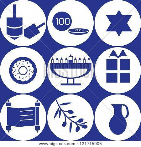 Set of nine blue hanukkah elements in circles
