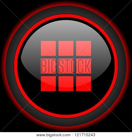 thumbnails grid black and red glossy internet icon on black background