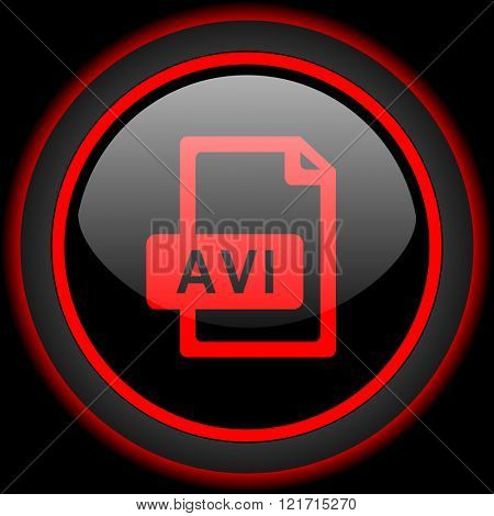 avi file black and red glossy internet icon on black background