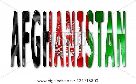 Afghanistan Word With Flag Texture