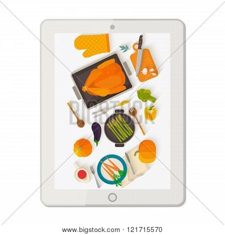 Banner with tablet making food photo.