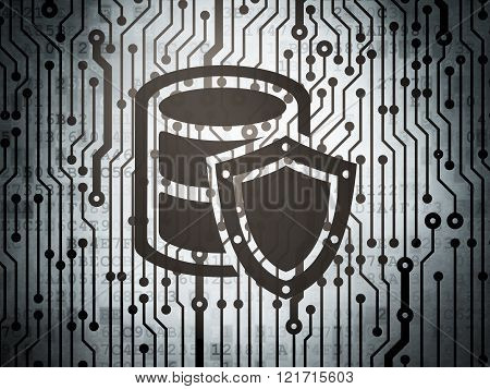 Database concept: circuit board with Database With Shield