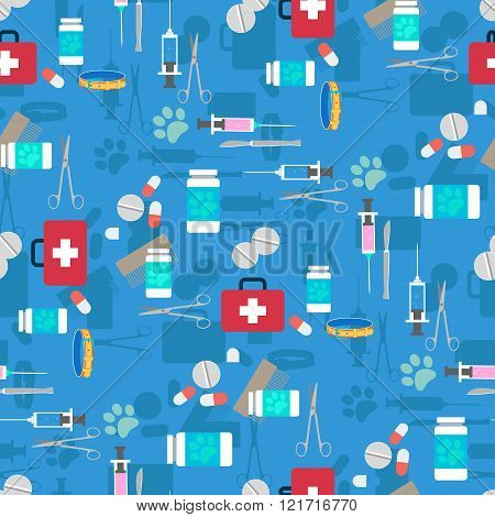 Veterinary set seamless pattern. Vector illustration