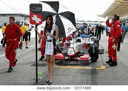 Sepang, MALAYSIA - 23 November: Team Switzerland at the starting grid at the World A1 GP championship races held in Malaysia. 23 November 2008 in Sepang International Circuit Malaysia.