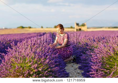 woman in lavender fields in Provence, France