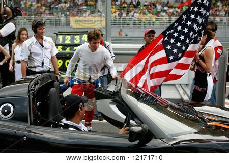 Sepang, MALAYSIA - 23 November: Team USA driver being introduced at the start of the World A1 GP championship races. 23 November 2008 in Sepang International Circuit Malaysia.