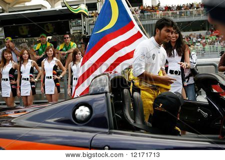 Sepang, MALAYSIA - 23 November: Team Malaysia driver, Fairuz Fauzi being introduced at the start of the World A1 GP championship races. 23 November 2008 in Sepang International Circuit Malaysia.