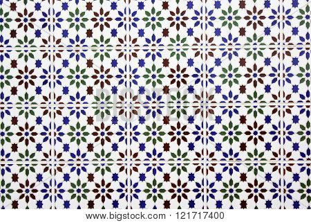 Typical andalusian tiles texture of a house.