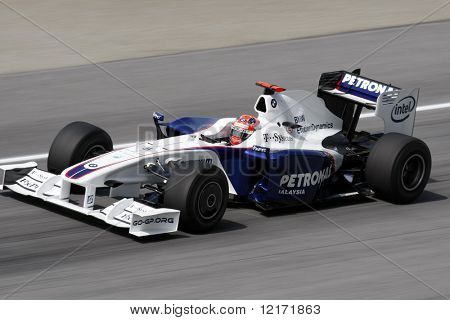 Sepang, MALAYSIA - 3 April: BMW Sauber's Robert Kubica in action at the 2009 F1 Petronas Malaysian Grand Prix.  3 April 2009 in Sepang International Circuit Malaysia.