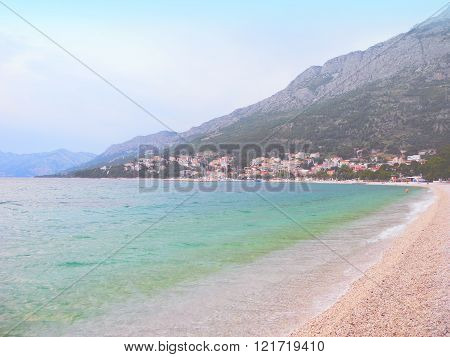 Beach In Baska Voda, Croatia.