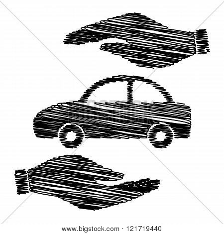 Car sign with scribble effect