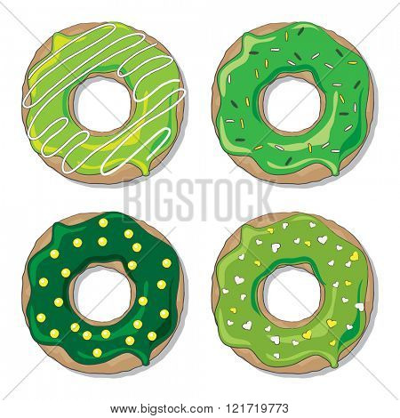 Four ring donuts over white background,  decorated for St Patrick's Day. EPS10 vector format