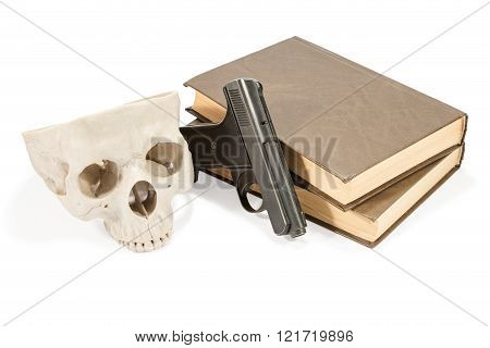 Book, Gun And Skull