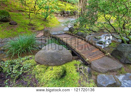 Bamboo Foot Bridge Over Creek