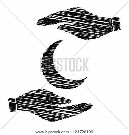 Moon sign with scribble effect