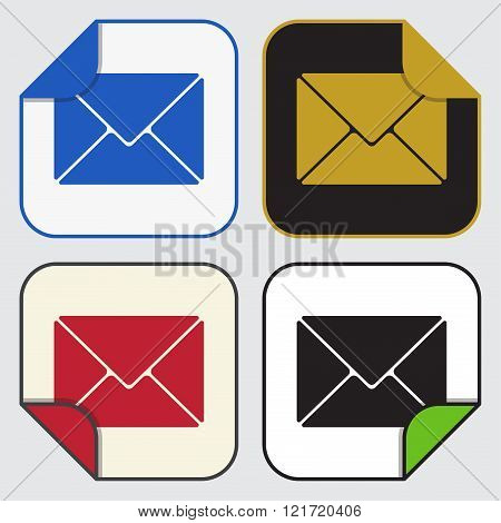 set of four colored variable square sticky icons with bent corner - mailing envelope