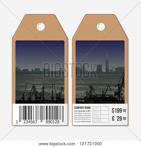 Vector tags design on both sides, cardboard sale labels with barcode. Shipyard and city landscape