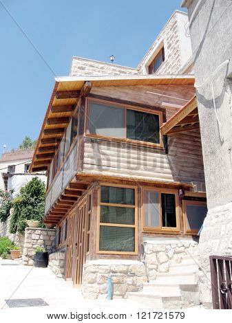 The wooden house on a street in old city Safed Israel