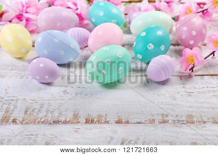 Easter Eggs On Old Wooden Background With Space For Text