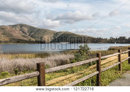 Mountain Range, Lake and Fence in Chula Vista, California