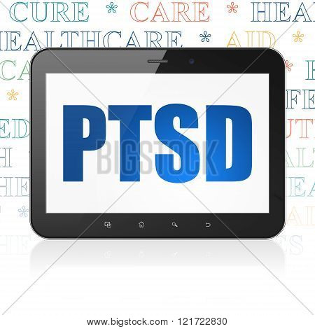 Healthcare concept: Tablet Computer with PTSD on display