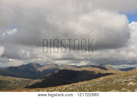 Distant Scafell Mountain Range