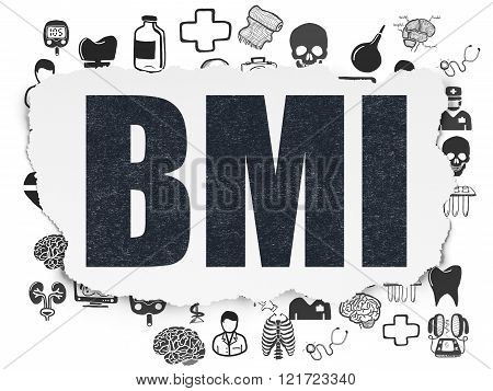 Health concept: BMI on Torn Paper background